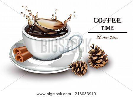 Coffee splash realistic Vector. Fresh drink detailed illustration