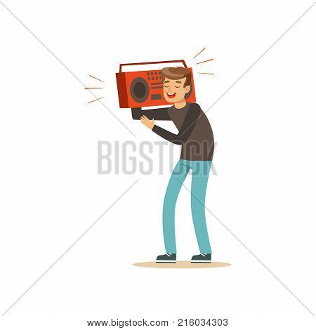Cheerful teenager holding tape recorder over on his shoulder. Young boy character having fun at party. Cartoon vector illustration isolated on white background. Flat design for poster or sticker.