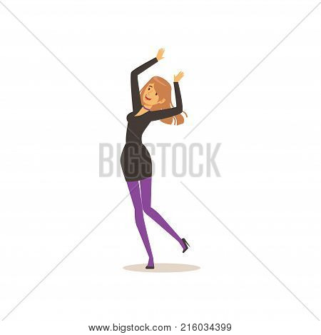 Attractive girl in elegant black dress dancing with hands up. Young female character having fun at night club. Party time. Cartoon vector illustration in flat style isolated on white background.