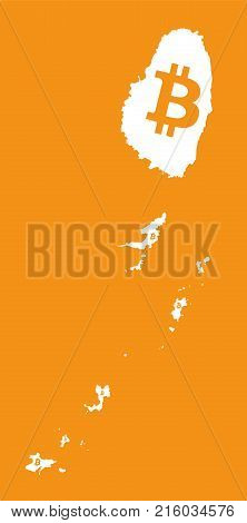 St Vincent And The Grenadines Map With Bitcoin Crypto Currency Symbol Illustration