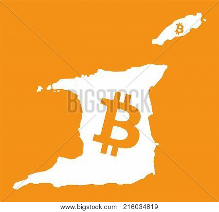 Trinidad And Tobago Map With Bitcoin Crypto Currency Symbol Illustration