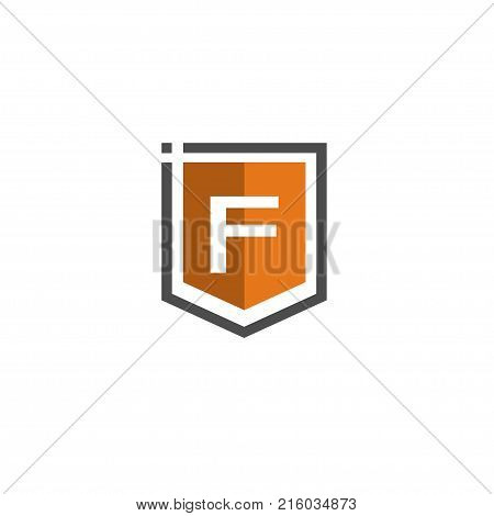 Letter F Shield logo abstract tech style logo, created shield with letter F line elements, shield abstract geometric style