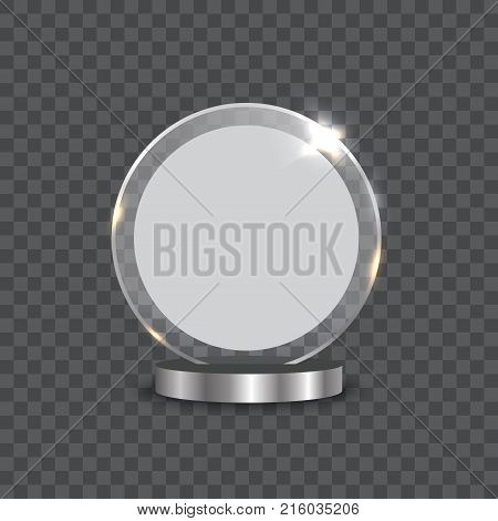 Glass cup trophies and challenge prizes realistic vector icons isolated on transparent background
