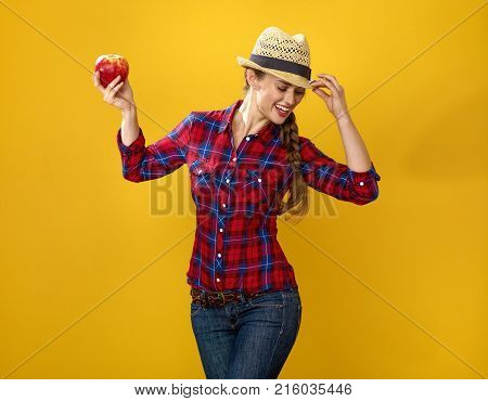 Happy Modern Woman Farmer Dancing With An Apple