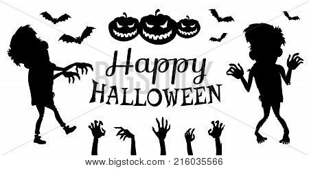 Happy halloween poster black and white image with title in centerpiece and icons of zombies, their hands and bats with pumpkins vector illustration