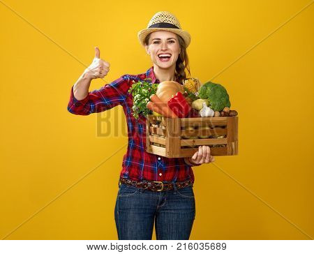 Woman Grower With Box Of Fresh Vegetables Showing Thumbs Up