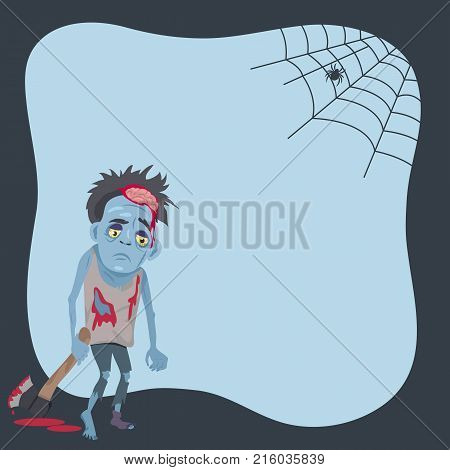 Poster with scary monster with bloody ax and spider creeping on his net. Vector illustration with creature on light blue background