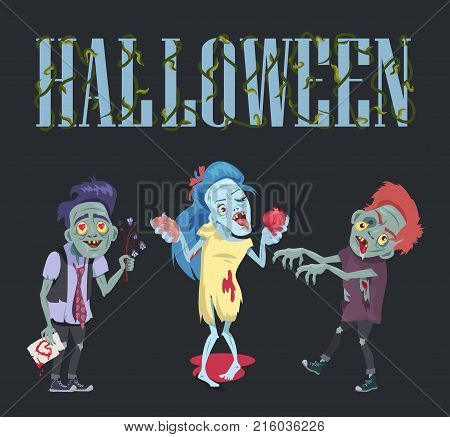 Halloween poster with zombies, comic banner with undead man with flowers and card and woman holding brain and heart vector illustration