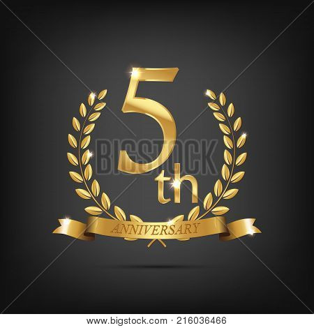 5 anniversary golden symbol. Golden laurel wreaths with ribbons and fifth anniversary year symbol on dark background. Vector anniversary design element