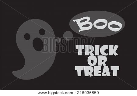 Trick or treat poster with happy Halloween scary ghost frightening with Boo sound. Vector illustration festival of horror symbol isolated on black