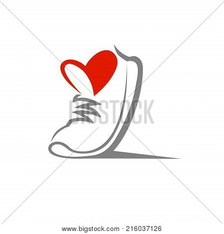 Abstract running shoe symbol, icon. Love sport concept, used for logo