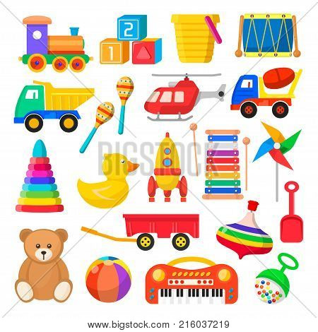 Baby toy set. Cute object for small children to play with, wooden and plastic toys, stuffed animals, fun and activity. Vector flat style cartoon illustration isolated on white background