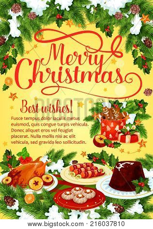 Christmas dinner greeting banner with winter holiday cuisine dishes. Xmas turkey, pudding and New Year dessert, gingerbread cookie and chocolate cake festive card with holly berry, snowflake, ribbon