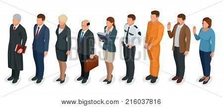 Isometric Law and Justice. People present in court judge, clerk, translator, lawyer, witness, plaintiff, defendant, stenographer prosecutor defendant police officer Vector illustration