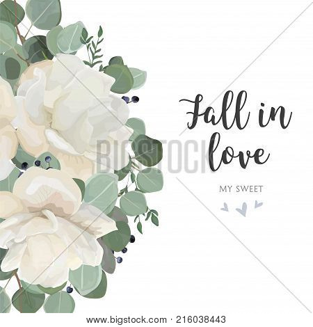 Floral card design with garden white creamy peony Rose flower silver Eucalyptus thyme green leaves elegant greenery blue berry bouquet. Vector watercolor style elegant greenery layout cute template