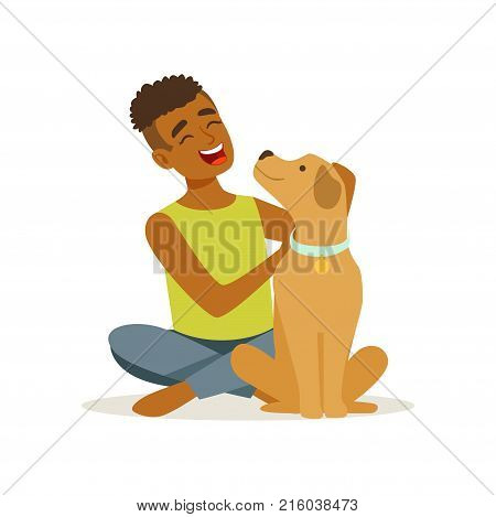 Happy teenager boy stroking friendly brown puppy. Cheerful child character sitting near his pet dog. Domestic animal. Human s best friends. Flat design vector illustration isolated on white background