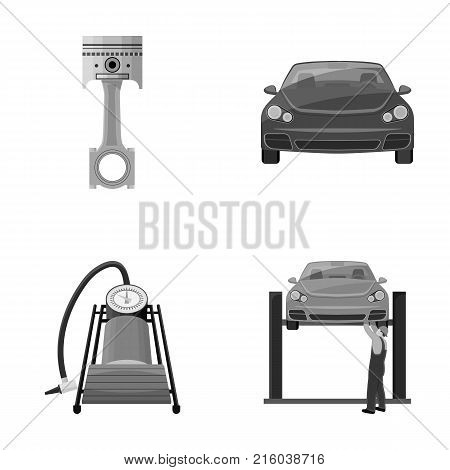 Car on lift, piston and pump monochrome icons in set collection for design.Car maintenance station vector symbol stock illustration .