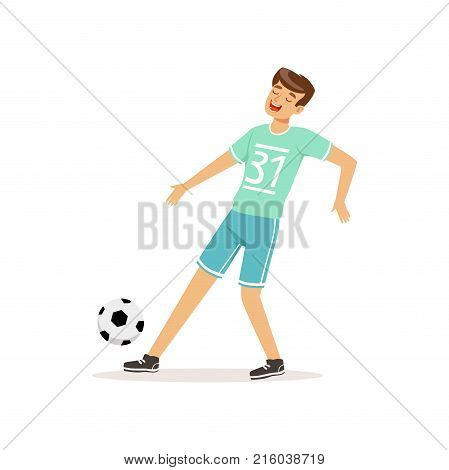 Cheerful football player kicking ball. Professional soccer sportsman in uniform: shorts and t-shirt with number. Team sport concept. Athlete character in action. Active lifestyle. Isolated flat vector
