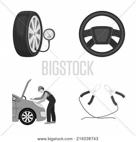 Engine adjustment, steering wheel, clamp and wheel monochrome icons in set collection for design.Car maintenance station vector symbol stock illustration .