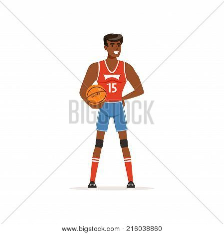 Cheerful basketball player standing with ball in hand. Athletic black man character in sports wear shorts and shirt with number. Team sport game concept. Flat vector illustration isolated on white.