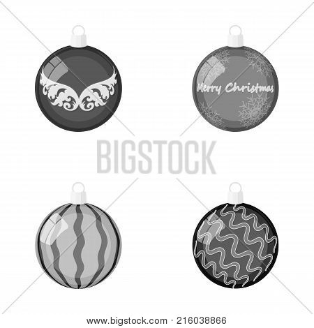 New Year's Toys monochrome icons in set collection for design.Christmas balls for a treevector symbol stock illustration.