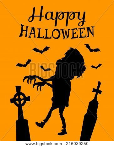 Happy Halloween poster with zombie silhouette, gravestones that have crosses on top and black bats isolated vector illustration on orange background.