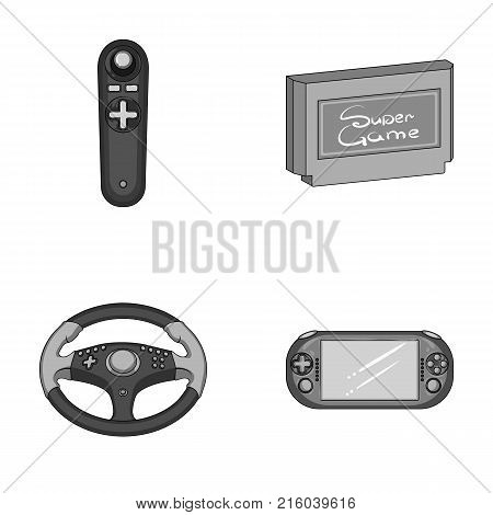 Game console and joystick monochrome icons in set collection for design.Game Gadgets vector symbol stock  illustration.