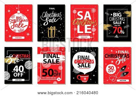 Final big Christmas sale set of eight posters with xmas discount advert. Vector illustration decorated with doodles, gifts and presents and snowflakes