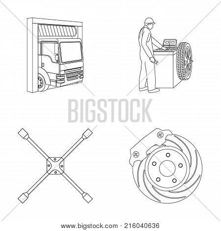 Wheel balancing, spanner and brake disc outline icons in set collection for design.Car maintenance station vector symbol stock illustration .