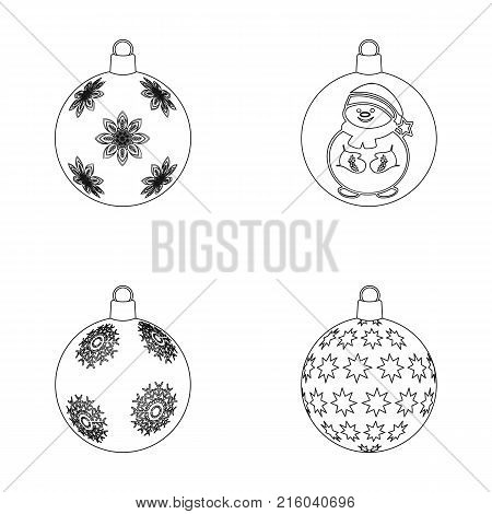 New Year's Toys outline icons in set collection for design.Christmas balls for a treevector symbol stock illustration.
