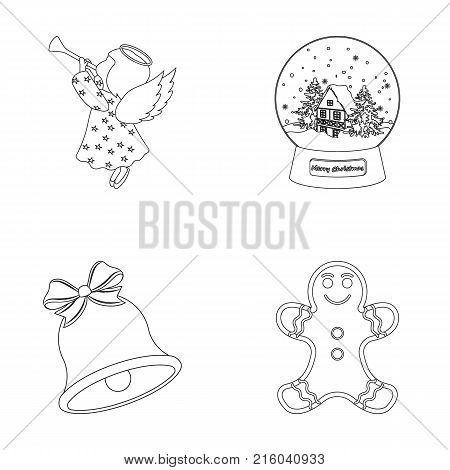 Angel, glass bowl, gingerbread and bell outline icons in set collection for design. Christmas vector symbol stock  illustration.