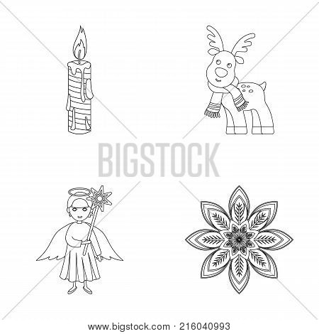 Christmas candle, deer, angel and snowflake outline icons in set collection for design. Christmas vector symbol stock  illustration.