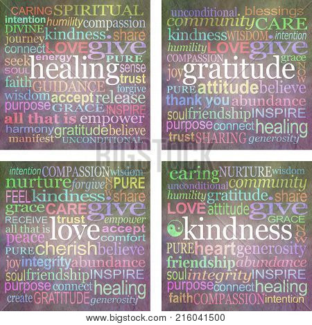 Set of four 100mm square print ready word cloud healing coasters - four different word clouds, healing, gratitude, love and kindness at 100% size ready for printing