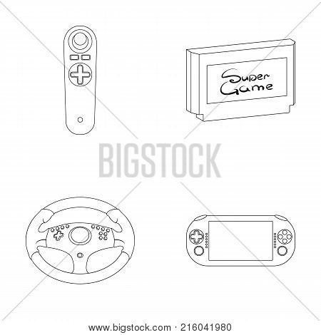 Game console and joystick outline icons in set collection for design.Game Gadgets vector symbol stock  illustration.