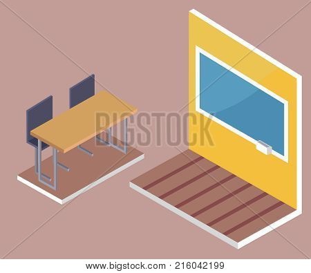 School desk side view and blackboard with piece of chalk 3D isometric design vector illustrations. Pieces of furniture in classroom, table and chairs