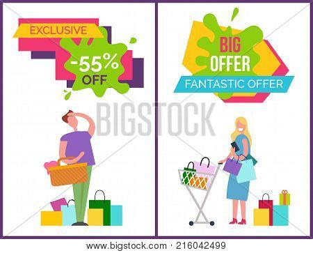 Exclusive -55 off and big and fantastic offer, banners with man, basket and bags, and woman with cart and wallet vector illustration