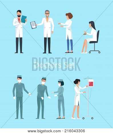 Doctors set of icons, man reading results of analysis, nurse with drop-bottle, woman sitting on chair and surgeons operating vector illustration