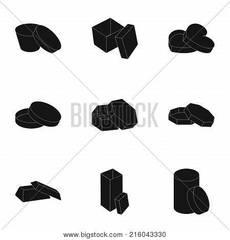Box, package, packaging, and other  icon in black style.Shell, framework, boxing icons in set collection