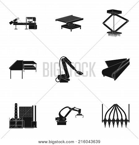 Factory equipment and machines and other  icon in black style.New production technologies icons in set collection.