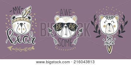 Vector collection with  cute fashion bears. Stylish teddy bear set. Trendy design in sketch style  t-shirt print, cards, poster.Doodle kids animals series. Funny character.