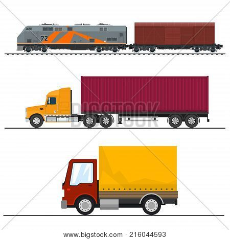 Set of Road and Railway Freight Transport Truck and Delivery Van Locomotive with Closed Wagon Shipping and Freight of Goods Transportation and Cargo Services Vector Illustration