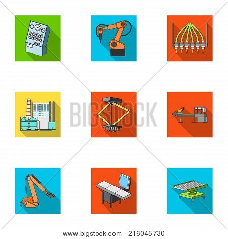 Factory equipment and machines and other  icon in flat style.New production technologies icons in set collection.