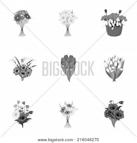 A bouquet of fresh flowers monochrome icons in set collection for design. Various bouquets vector symbol stock illustration.