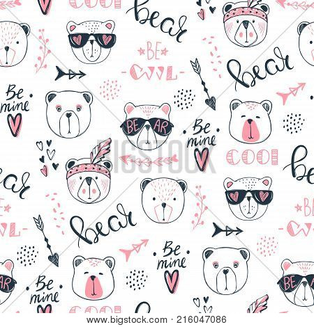 Vector fashion bear seamless pattern. Cute teddy illustration in sketch style. Cartoon animals background. Doodle bears. Ideal for fabric, wallpaper, wrapping paper, textile, bedding, t-shirt print.