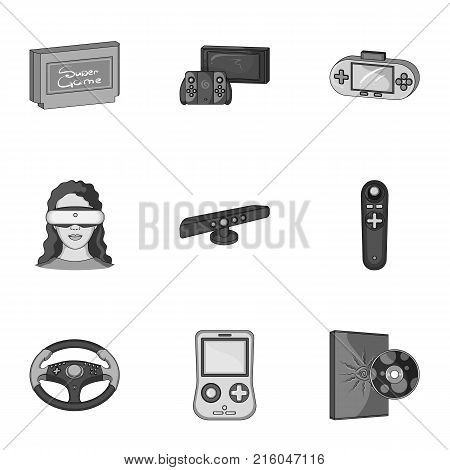 Game console and virtual reality monochrome icons in set collection for design.Game Gadgets vector symbol stock illustration.
