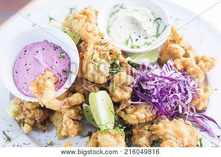 deep fried tempura seafood modern fusion gourmet food cuisine meal tapas snack