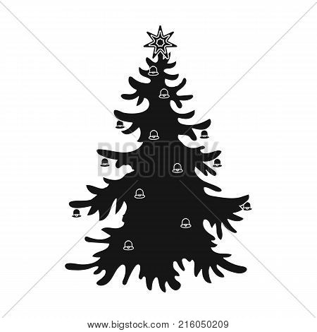 Christmas tree single icon in black style for design. Christmas vector symbol stock illustration .