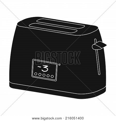 Toaster, single icon in black style.Toaster, vector symbol stock illustration .