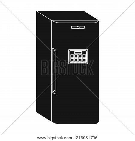 Refrigerator, single icon in black style.Refrigerator, vector symbol stock illustration .