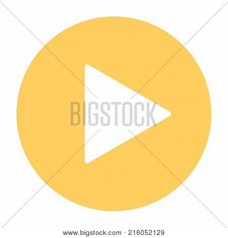 Play button silhouette icon. 96x96 vector symbol isolated on white background